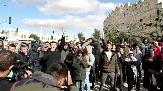 palestinian protestors demonstrated outside damascus gate in jerusalem's old city thursday - palestinian stock videos & royalty-free footage