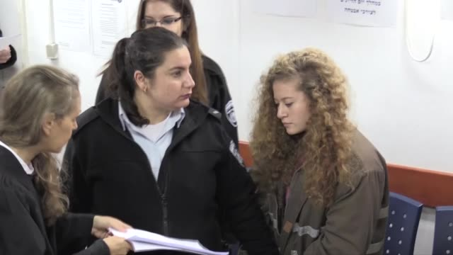 Palestinian teen Ahed Tamimi appeara at a military court at the Israelirun Ofer prison in the occupied West Bank city of Beitunia on January 01 2018...