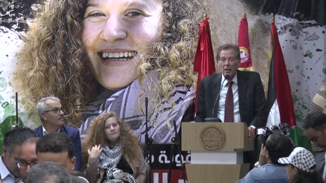 palestinian teenager activist ahed tamimi speaks at the tunisian general labour union in tunis tunisia on october 02 2018 ahed tamimi who was... - palestinian stock videos & royalty-free footage