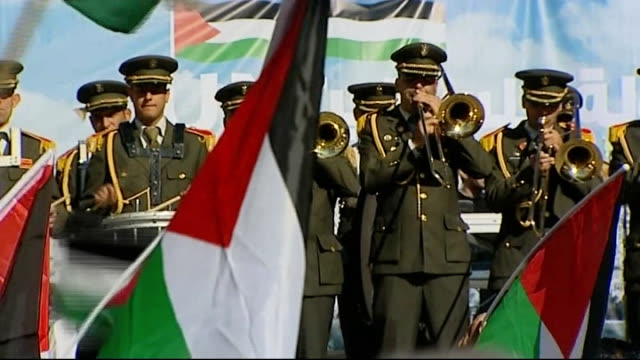 palestinians celebrate as un grants palestine non-member observer state status; israel: west bank: ramallah: ext hanan ashrawi interview sot - we... - palestine liberation organisation stock videos & royalty-free footage