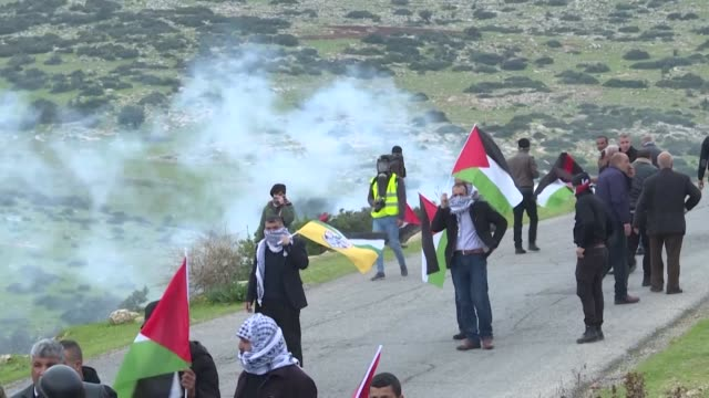 palestinians clash with israeli security forces during a protest against israeli settlements and a controversial us-brokered peace plan in the jordan... - palestinian stock videos & royalty-free footage