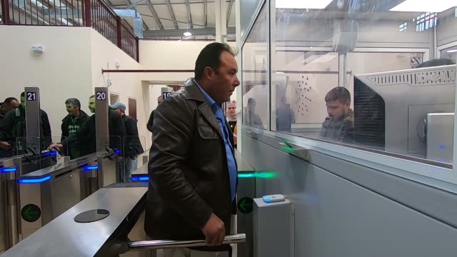 palestinians crossing the newly renovated kalandia or qalandiya checkpoint between jerusalem and ramallah on 28 march 2019 / the qalandiya... - editorial stock videos & royalty-free footage