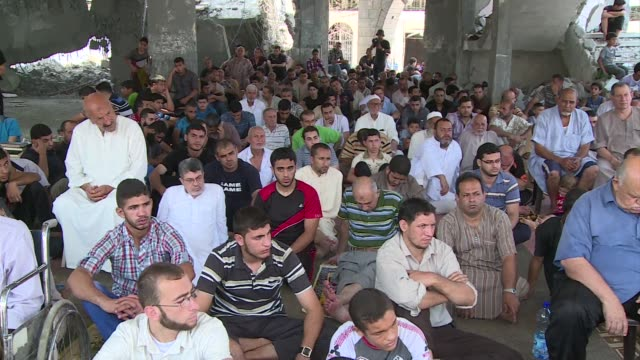 Palestinians gathered on Friday in partially destroyed mosques to attend Friday prayers in Gaza City