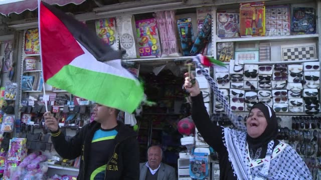 palestinians in east jerusalem demonstrated for land day outside damascus gate - gerusalemme est video stock e b–roll