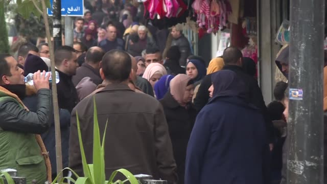 palestinians in ramallah in the occupied west bank reacted wednesday after us president donald trump threatened to cut aid worth more than $300... - diplomacy stock videos and b-roll footage