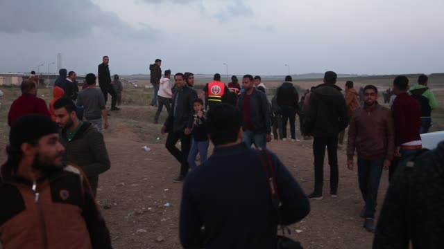 """palestinians in tents on the gaza border with israel, east of gaza city, on april 2 as they continue to protest as part of a march titled """"the great... - 2018 gaza border protests stock videos & royalty-free footage"""