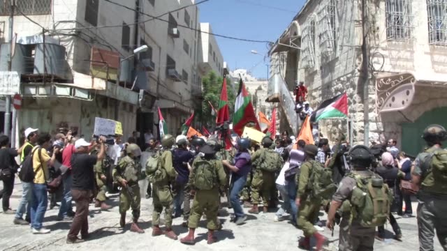 palestinians on tuesday staged small demonstrations to mark the 45th anniversary of the six day war in which israel seized the west bank and gaza... - six day war stock videos and b-roll footage