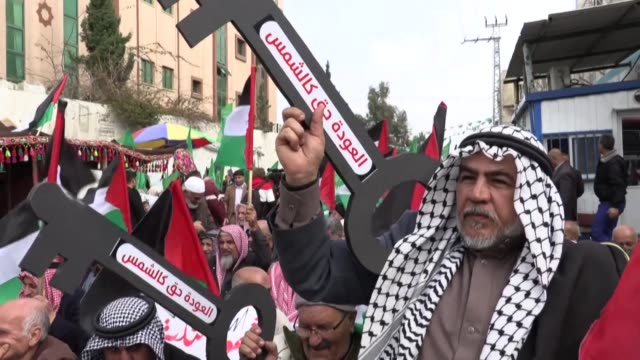 palestinians organize a protest against a us brokered peace proposal next to the un building in gaza city - gaza city stock videos & royalty-free footage