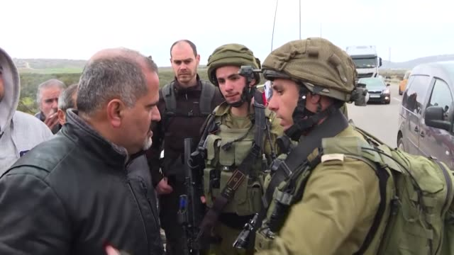 palestinians protest against israeli settlements in the village of qusra in the israeli occupied west bank - israel palestine conflict stock videos & royalty-free footage