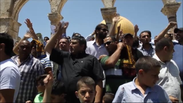 palestinians protest against jewish woman who insult to prophet muhammad yesterday in front of alaqsa mosque in jerusalem on 24 july 2015 - muhammad prophet stock videos & royalty-free footage