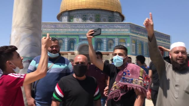 palestinians protest against the agreement between united arab emirates' and israel to normalize relations, and the planned jewish settlement in the... - jerusalem stock videos & royalty-free footage