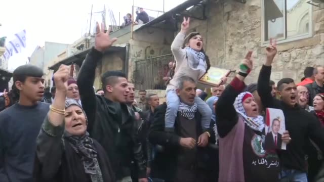 palestinians protested in jerusalem's old city following midday prayers friday against us president donald trump's dec 6 recognition of jerusalem as... - midday stock videos & royalty-free footage