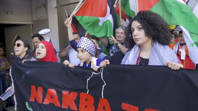 palestinians rally and march in bay ridge brooklyn new york city a predominantly palestinian and arab community in solidarity with the palestinians... - years stock videos and b-roll footage