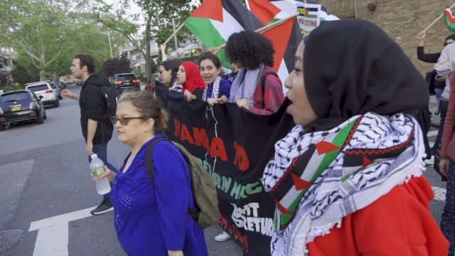 Palestinians rally and march in Bay Ridge Brooklyn New York City a predominantly Palestinian and Arab community in solidarity with the Palestinians...