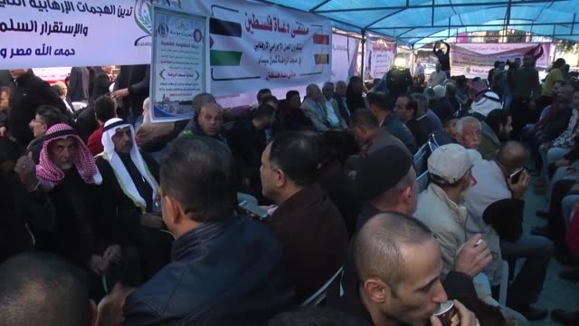 Palestinians set up a condolence tent near Unknown Soldier Monument on November 26 2017 in Gaza City Gaza for victims of alRawdah mosque bombing in...
