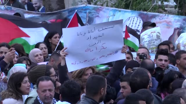 vídeos de stock, filmes e b-roll de palestinians stage a protest demanding the return of bodies of those killed by the israeli army in ramallah west bank on november 25 2015 - ramallah