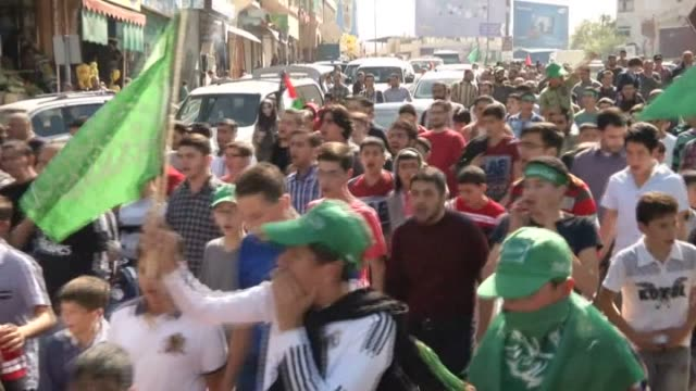 palestinians stages demonstration against israeli government's restrictions about jerusalem and al aqsa mosque in hebron west bank on october 24... - al aqsa mosque stock videos and b-roll footage
