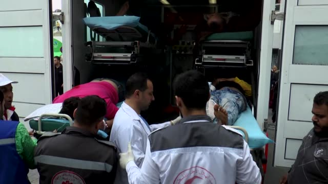 palestinians were injured by israeli army gunfire on march 30 2018 near the gaza strip's eastern border with israel are taken to hospitals in gaza... - historical palestine stock videos & royalty-free footage