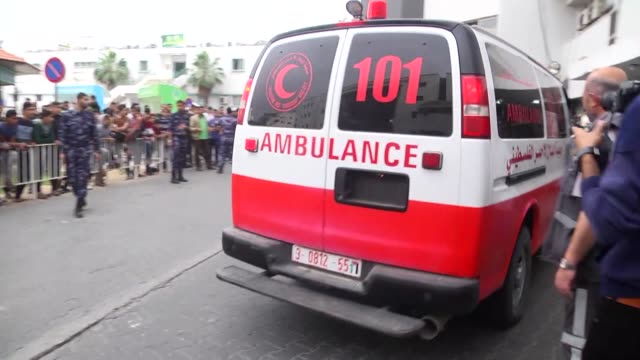 Palestinians were injured by Israeli gunfire on April 20 2018 near the Gaza Strip's eastern border with Israel are taken to hospitals in Gaza City...