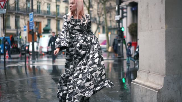 Palina Kozyrava wears a black and white ruffled dress during Paris Fashion Week Haute Couture Spring Summer 2020 on January 23 2019 in Paris France