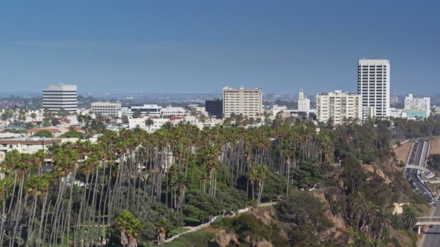 palisades park, santa monica, california - drone shot - palisades park stock videos & royalty-free footage