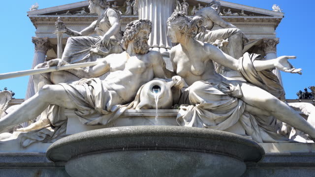 pallas athena fountain - 4k - vienna austria stock videos & royalty-free footage