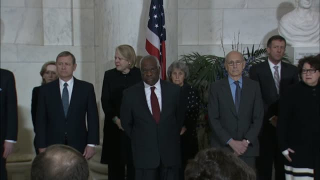 pallbearers carry the coffin containing the late associate justice antonin scalia inside the supreme court building to the lincoln catafalque paul... - samuel alito stock videos & royalty-free footage