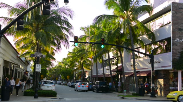 Palm Beach Florida famous Worth Avenue shopping area with traffic and palm trees