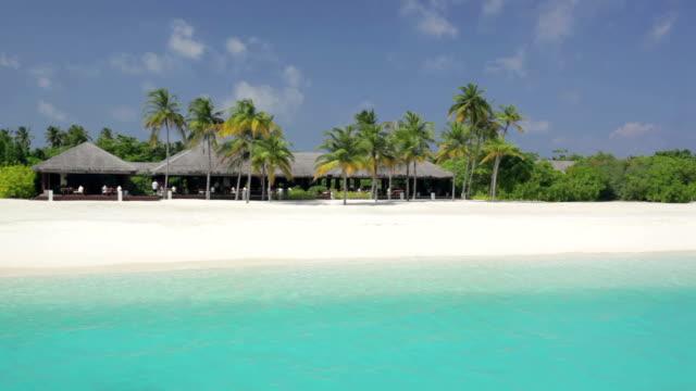 palm beach with restaurant - tetto di paglia video stock e b–roll