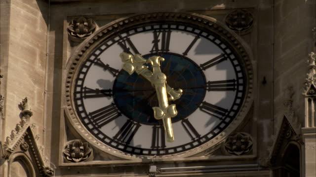 palm fronds wave in front of the clock of vienna rathaus. available in hd. - romersk siffra bildbanksvideor och videomaterial från bakom kulisserna