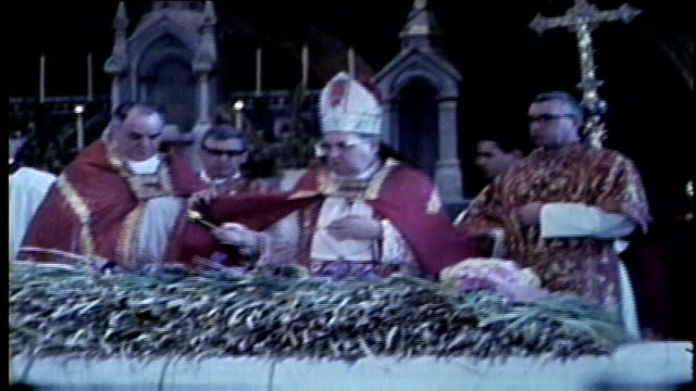 wgn palm sunday mass held around in different churches around chicago on april 7 1968 - ミサ点の映像素材/bロール