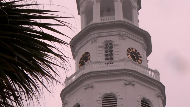 vidéos et rushes de ms palm tree branches blow in the wind on a rainy day pan right to clock tower of white church in charleston south carolina - clocher élément architectural