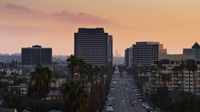 palm tree lined brand blvd, glendale with downtown la in distance - aerial establishing shot - glendale california stock videos & royalty-free footage