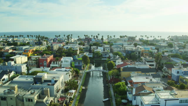 palm tree lined canals in venice canal historic district - drone shot - canal stock videos & royalty-free footage