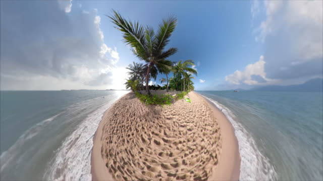 palm trees on lonely island - fish eye lens stock videos & royalty-free footage