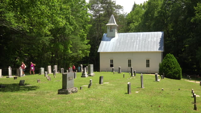 palmer chapel methodist church in cataloochee valley at great smoky mountains national park in tennessee - chapel stock videos & royalty-free footage