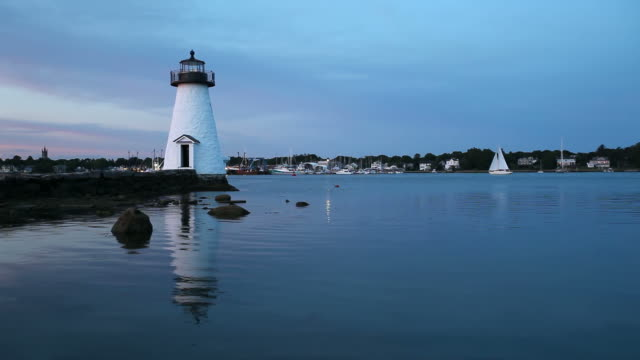 palmer island lighthouse, new bedford, massachusetts - new bedford stock videos & royalty-free footage