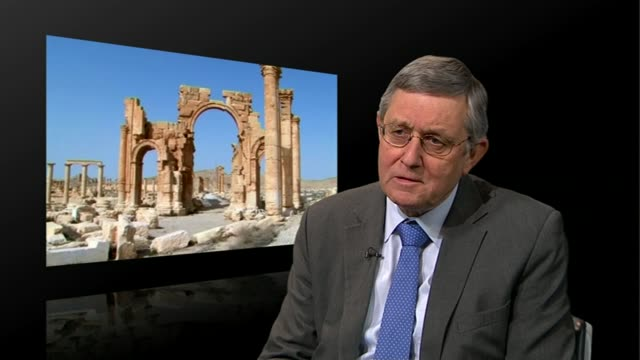 palmyra curator executed by islamic state damascus int professor maamoun abdulkarim interview sot - isis execution stock videos & royalty-free footage