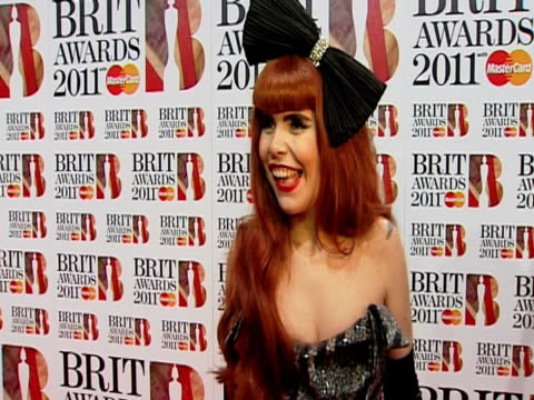 paloma faith on being nominated the brits and more at the brit awards 2011 at london england - 2011 stock videos & royalty-free footage