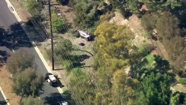 palos verdes, ca, u.s. - aerial view of tiger woods car accident scene in palos verdes, on tuesday, february 23, 2021. - palos verdes stock videos & royalty-free footage