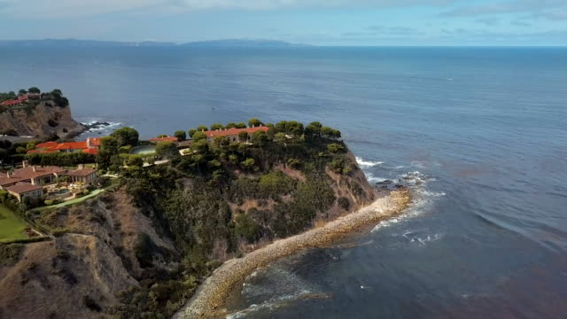 palos verdes peninsula - aerial drone shot - peninsula stock videos and b-roll footage