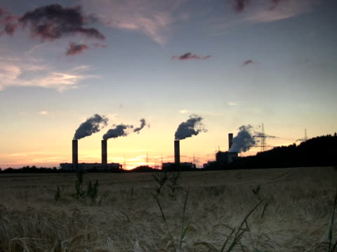 stockvideo's en b-roll-footage met pal:power plant at sunset - mens gemaakte bouwwerken