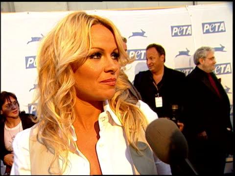 Pamela Anderson on why she likes PeTA at the PeTA's 25th Anniversary Gala And Humanitarian Awards Show at Paramount Studios in Hollywood California...