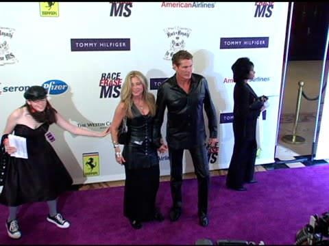 pamela bach and david hasselhoff at the 12th annual race to erase themed rock and royalty to erase on april 22, 2005. - david hasselhoff stock videos & royalty-free footage
