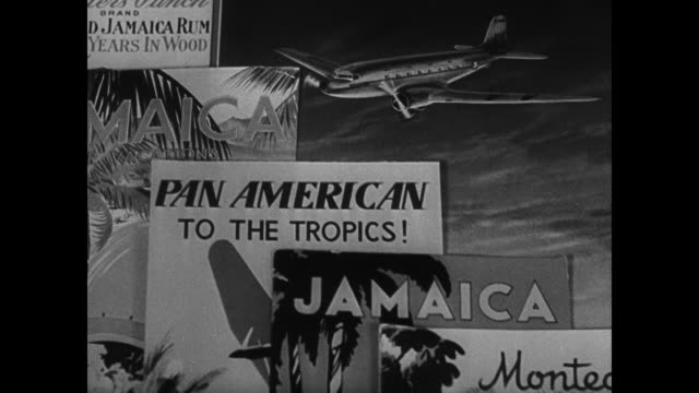 Pamphlet for Nassau Travel Agency w/ pile of papers to mail People sitting poolside PAN AM ads VS Jamaica Montego Bay VS Bermuda street scenes w/...