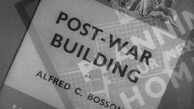 montage pamphlets on post-war reconstruction / london, england, united kingdom - rebuilding stock videos and b-roll footage