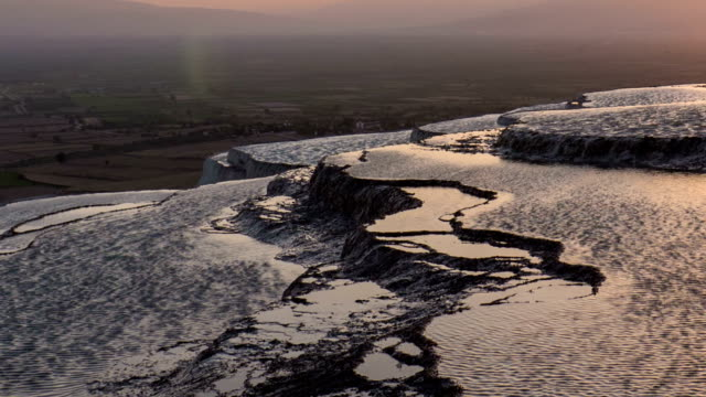 pamukkale sunset timelapse - calcium carbonate stock videos and b-roll footage