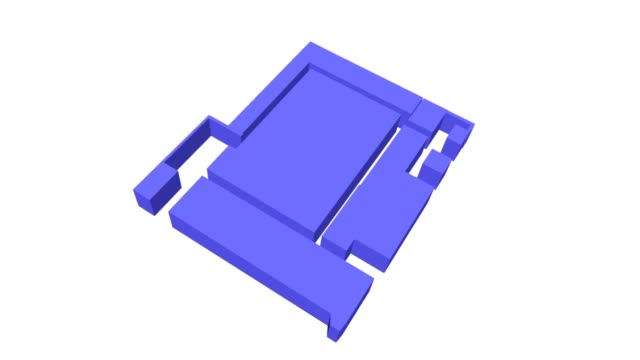pan across 3d rendering of floorplan for engineering building iv on the campus of the university of california los angeles site of alleged shooting... - grundriss stock-videos und b-roll-filmmaterial
