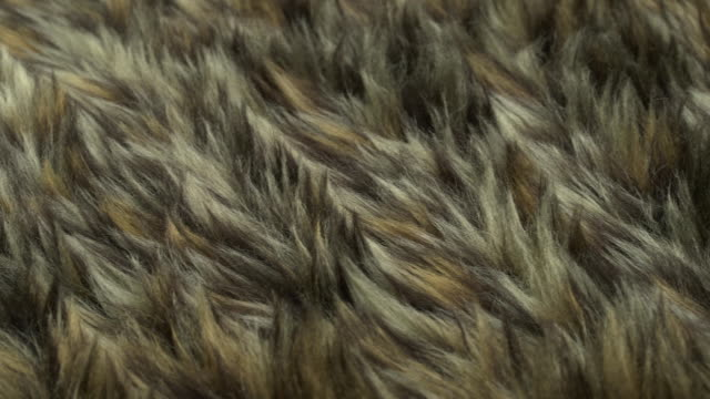 Pan across a piece of patterned fake fur.