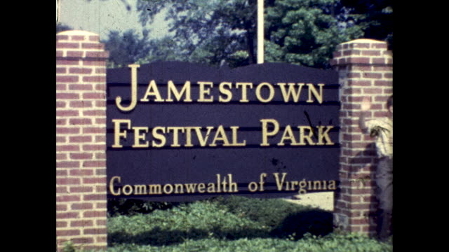 """pan across a sign that reads """"jamestown festival park- commonwealth of virginia"""" - one boy only stock videos & royalty-free footage"""